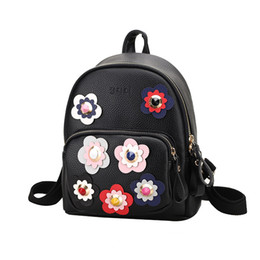 1bffefec8e3e Wholesale- 2016 High Quality Women Backpacks Small PU Leather Bags Female  Famous Brand Flower School Bags Womens Mini Printing Backpack