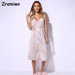 Wholesale Long Sexy Nighties - Wholesale- Long Satin Nightgown Comfy Deep V Nightie Sexy A-Line Wrap Slip Split Party Dresses Vestidos Holiday Lingerie