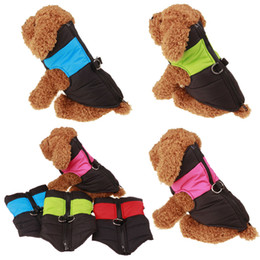 Wholesale Thick Down Vest - Small Dog winter clothes Down Jackets winter warm thick vests waterproof nylon cloth coats double D ring wholesale free shipping