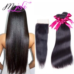 Wholesale Silky Human Hair Weave - Peruvian Brazilian virgin human hair weave unprocessed silky straight natural color 4x4 lace closure with 3 bundles Malaysian Indian hair