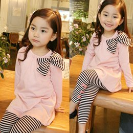 Wholesale Girls Stripped Tops - Wholesale- autumn winter baby girl clothing set long sleeve bow t-shirt top +strip pants with small bow kid girls clothing suits outfits