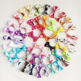 Wholesale Wedding Bows For Hair - 100Pcs Lot Wholesale Handmade Dog Bow Hair Little Puppy Bows Hair Clips For Dogs 40 style mix Pet Grooming Accessories Hairpins