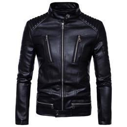 Chaqueta de cuero delgada de los hombres Hombres de lavado con agua Chaqueta de cuero de la motocicleta prendas de vestir exteriores chaqueta 2017 nuevo top desde fabricantes