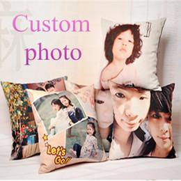 Cojines personalizados online-Al por mayor-Funda de almohada Nuevo personalizar Cojín decorativo Imprimir su foto en Almohadas Throw Pillows 45 * 45cm regalo de boda Foto personalizada para cus