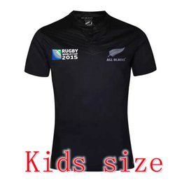 Wholesale Free Shipping World - NEW 2015 2016 Zealand RUGBY kids jersey 15 16 Top Thailand quality RWC NRL RUGBY children World Cup All blacks Boys Shirts Free Shipping