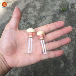 Wholesale glass jars wood - 8ml Glass Bottles Pendants With Cork Wood Stopper Wedding Gift Bottles Jars Vials Diy Decoration Craft 100pcs Free Shipping