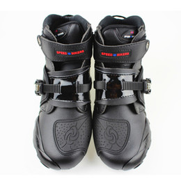 Wholesale Professional Sports Boots - 2017 new Automobile Racing shoes off-road motorcycle boots Professional moto black botas Speed Sports Motocross Black and best Christmas gif