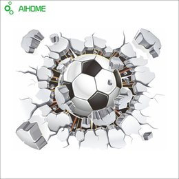 Wholesale Window View Wall Mural - 3D Football Soccer Playground Broken Wall Hole Window View Home Decals Wall Sticker for Boys Room Sports Decor Mural