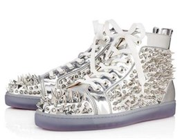 Wholesale 46 Led - Size 36-46 Men Women Lead Leather With Mixed Spikes High Top Red Bottom Fashion Sneakers,Unisex Luxury Brand Flats,Comfortable Casual Shoes