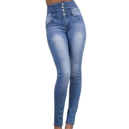 Wholesale trouser styles for skinny women - 2017 New Style Autumn Plus Size Casual Women Jeans High Waist Pant Slim Stretch Trousers For Woman Blue Party Club Women Clothing