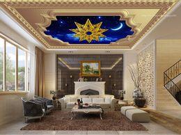 Wholesale Gold Wallpaper For Bedroom - Gold Photo Wallpaper 3d Ceiling Pattern sky Wall papers Home Decor papel de parede do desktop Wallpaper Ceiling 3d