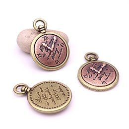 Wholesale Copper Clocks - Sweet Bell Min order 10pcs 24*33m Antique Bronze+Copper Alloy Clock Pendant Charms Jewelry finding for necklace fine jewelry making D6031