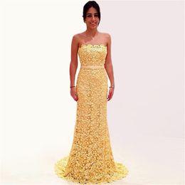 Wholesale Cheapest Red Strapless Dress - Mermaid Prom Dress Vestidos De Festa Vestido Longo 2017 Strapless High Quality Lace Evening Dresses Long Cheapest