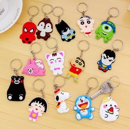 Wholesale Wholesale Digital Photo Keychains - DHL Shipping New animal keychain colors cartoon key chain Anime Anime keycover animation key caps Children Keychain AA183