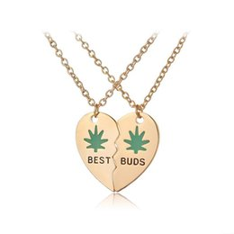 Wholesale Statement Necklace Parts - best buds pendant BFF 2 part broken heart leaf green necklace fashion jewelry for friends gold silver Plated maxi statement