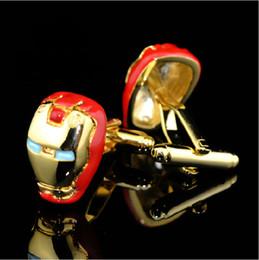Wholesale Men S Metal Jewelry - Iron Man Cufflinks, Fun Cartoon cuff links, Men 's metal cufflinks   jewelry .