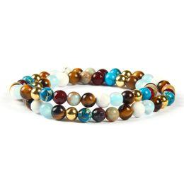 Wholesale around circle - Wholesale Men's Wrap-Around Jewelry 6mm Natural Tiger Eye, White Howlite Stone Elastic Beaded Two Circles Bracelet