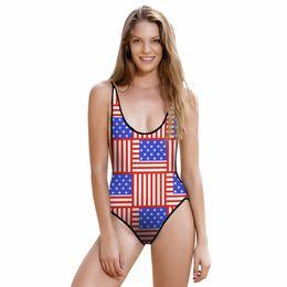 Wholesale Usa Flag Bathing Suits - 2017 New 002 Sexy Girl Summer USA Flag Prints One Piece Swimsuit Monokini Straps Backless Women Swimwear Bathing Suit