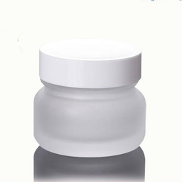 Wholesale Wholesale White Glass Cosmetic Jars - 50g Empty Frosted Glass Jar Cosmetic Container Handmade Cream Packaging Luxury Bottles with white lid fast shipping F2017459