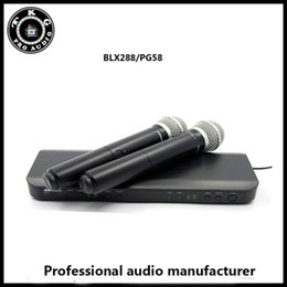 Wholesale Wireless Microphone Transmitter System - DHL shipping professional BLX288 PG58 two Dual Wireless microphone System with 2 PG58 dual Handheld Transmitters BLX288 PG58 microphone