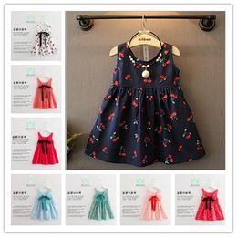 Wholesale Cute Chinese Girls - 2017 Summer New Korean Sleeveless Dresses For Girls Cotton Blends Cherry Printing Children Dresses Cute Child Princess Dress