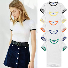 Wholesale T Shirt Easy - Wholesale- Summer Camp Ringer Tee student Tops women Short Sleeve t shirt women tops basic stretch T-shirts solid color easy match