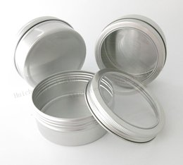 Wholesale Aluminum Window Glass - 20 x 200g aluminum jars with window big aluminum case metal cosmetic bottles cosmetic packaging containers