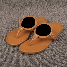 Wholesale Gold Sandals Women - New lichee Leather Sandals Embossed Genuine Leather Brand Designer Women Thong Sandals Summer Beach Sandals Famous Flip Fllops