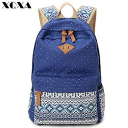 Wholesale cute vintage backpacks - XQXA Vintage Girl School Bags For Teenagers Cute Dot Printing Canvas Women Backpack Mochila Feminina Casual Bag School Backpack