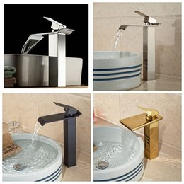 Wholesale Bathroom Waterfall Wall Spout - Wholesale- Wholesale And Retail Promotion Luxury Modern Square Waterfall Spout Bathroom Basin Faucet Tall Countertop Vanity Sink Mixer Tap