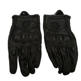 Wholesale Short Finger Bike Gloves - Wholesale- Motorcycle Bicycle Riding Racing Bike Protective Armor Short Leather Gloves Motorbike Full Finger Bike Protect Glove
