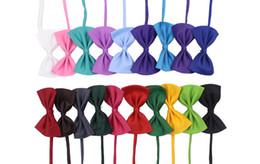Wholesale Fall Color Flowers - Multi colors pet bowtie dog tie collar flower accessories decoration supplies pure color bowknot necktie wen4549