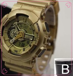 Wholesale Gift Boxes For Belts - GA110+G box relogio men's sports watches, LED chronograph wristwatch, military watch, digital watch, good gift for men & boy, dropship