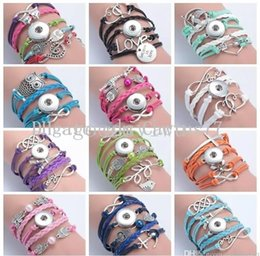 Wholesale Heart Crown Charms - 12 styles PU leather Snap Button Bracelet Multilayer Infinity Heart Crown Letters Bracelets 18MM Noosa Ginger Snaps jewelry for women