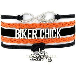 Wholesale Infinity Bracelet Orange - Custom-Infinity Love Biker Chick Multilayer Bracelet Best Gift Motorcycle Motocross Motorsport Bracelet Cool Orange Black Leather