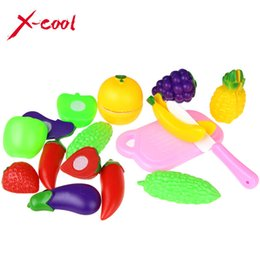 Wholesale Pretend Kitchen Food - 11 PCS   Set Plastic Kitchen Pretend Play Food Fruit Vegetable Cutting Toy For kid Educational Toy Play house toy