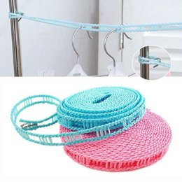 Wholesale Travel Washing Line - Outdoor 5m Length Nylon Non-slip Drying Clothes Hangers Rope Clothesline Washing Line With Metal Hook Laundry Storage Racks