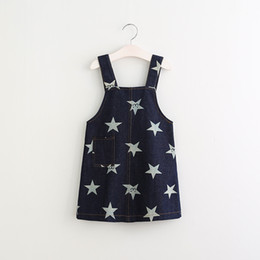 Wholesale Cute Jean Dresses - Spring Girls Star Jean Dress England Cute Kids Denim Suspender Casual Children Dresses For 2-7 Year Children's Wholesale Clothes