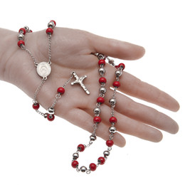 Wholesale Rosary Necklace Religious Jesus - NEW Religious Catholic Blessed Virgin Mary Red Crystal Rosary Bead Necklace Silver Plated Jesus Crucifix Cross Pendant