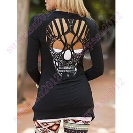 Wholesale Skull Blouse Wholesale - Wholesale-2016 New Fashion Scoop Neck Women Long Sleeve Blouse Top Shirt Skull Pattern Hollow Cut Out Stylish Collarless For Women