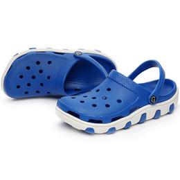Wholesale Fabric Clogs - Wholesale-2016 new men clogs sandals cut-outs holes slippers beach garden shoes cool summer size 40-44