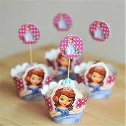 Wholesale First Cups - Wholesale-48pcs 2 sets Party Decoration Wedding Cupcake Wrappers Favors Sofia the first princess Cup Cake Toppers Girls favor cartoon card