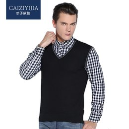 Wholesale Thickening Plaid Shirt - Wholesale- CAIZIYIJIA 2016 Winter Mens Long Sleeve Fake Two Pieces Shirt Thicken Warm Plaid Shirts Knited Slim Fit Casual Pullover Sweaters