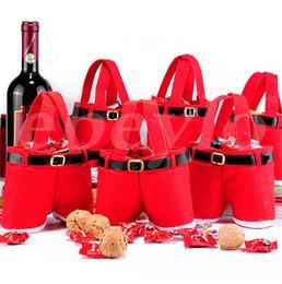 Wholesale Christmas Hot Pants - 2016 Hot New Creative Christmas Candy Bag Xmas Bag Christmas Decoration Supplies Santa Pants Bag For Candy Gift 200pcs DHL Free Shipping