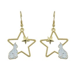Wholesale Cute Accessories For Women - Cute Lovely Gold-Color Chain Star With Black Gray White Color Cat Drop Earrings For Women Accessories Fashion Jewelery
