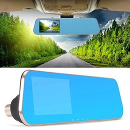 Wholesale Video Camera Mirror - 1080p car dvr Dual Lens Car Camera with 4.3 Inch Rear View Mirror Display Screen Dash Cam Auto Video Recorder Registrator Camcorder Dashcam