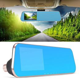 Wholesale Dual Rear View Camera - 1080p car dvr Dual Lens Car Camera with 4.3 Inch Rear View Mirror Display Screen Dash Cam Auto Video Recorder Registrator Camcorder Dashcam