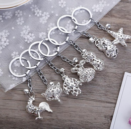 Wholesale Car Money Boxes - Hot sale Metal key ring animal key chain car bag hanging pendant R114 Arts and Crafts mix order