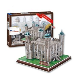 Wholesale Tower London 3d Puzzle - Top World famous buildings Jigsaw Model 3D Puzzle Tower of London DIY Xmas Gift Toys for childrens day Learning Education