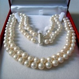 """Wholesale 18 Mm Shell Pearl - Free Shipping ****2 Rows 8-9 MM AKOYA SALTWATER PEARL NECKLACE 18"""""""